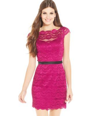 Hailey Logan by Adrianna Papell Juniors\' Lace Sheath Dress ...