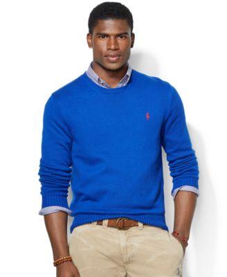 Polo Ralph Lauren Sweater, Crew Neck Cotton Pullover \u0026middot; Gallery \u0026middot; Ralph Lauren Men Mesh Cotton Grey Darkblue Half-zip ...