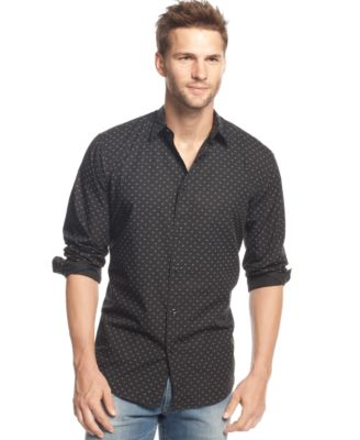 Armani Jeans Printed Woven Shirt - Casual Button-Down Shirts - Men ...