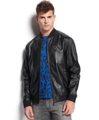 Versace Jeans Leather Bomber Jacket - Coats & Jackets - Men - Macy's