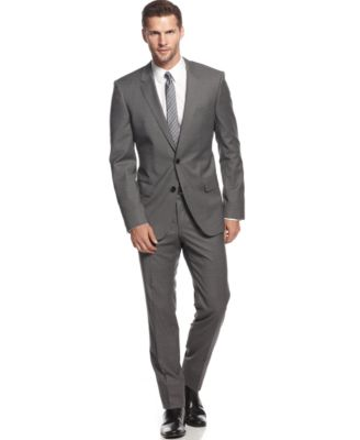 BOSS by Hugo Boss Heather Grey Solid Suit - Suits & Suit Separates ...
