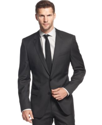 BOSS by Hugo Boss Charcoal Solid Slim-Fit Suit - Suits & Suit ...