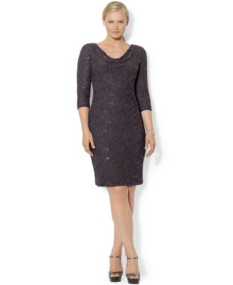 Lauren Ralph Lauren Plus Size Long-Sleeve Sequin Lace Sheath Dress ...
