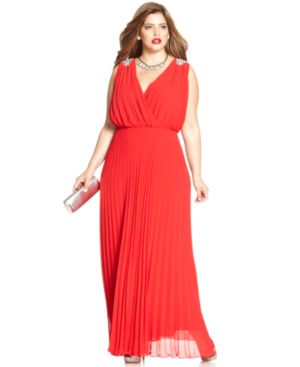 Alex Evenings Plus Size Pleated Faux-Wrap Gown