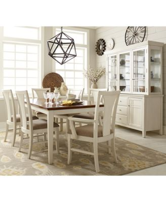 Edgewater White Pc Dining Table Set  Side Chairs   Arm - Macys dining room sets