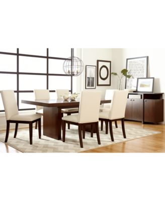 Bari White Pc Dining Set Table   Chairs Furniture Macys - Macys dining room sets