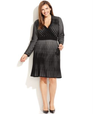 Calvin Klein Plus Size Long-Sleeve Ribbed Sweater Dress - Dresses ...