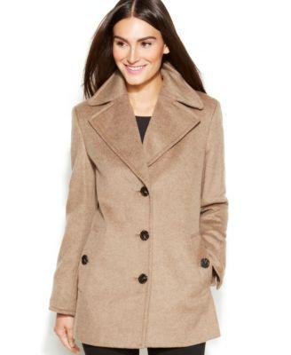 Calvin Klein Wool-Cashmere-Blend Peacoat - Coats - Women - Macy&39s