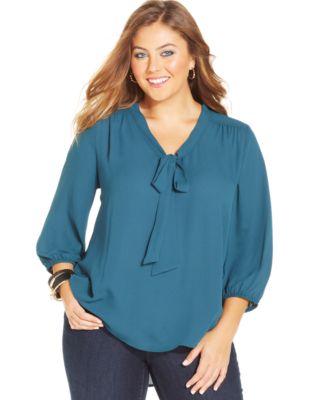 alfani plus size sheer-sleeve beaded-neck top - plus sizes - macy's