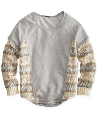 Poof! Girls' Mixed-Media Fair Isle Sweater - Kids - Macy's