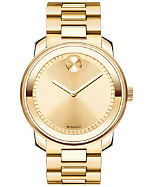 Movado Unisex Swiss Bold Gold Ion-Plated Stainless Steel Bracelet Watch 43mm