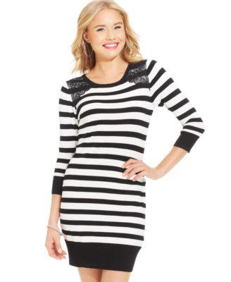 BCX Juniors' Striped Lace-Panel Sweater Dress - Dresses - Juniors ...