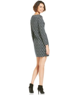 cbd0e95976e39 Jessica Howard Long-Sleeve Metallic Knit Shift - Dresses - Women ...