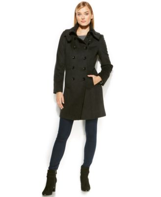 Calvin Klein Wool-Cashmere Double-Breasted Peacoat - Coats - Women