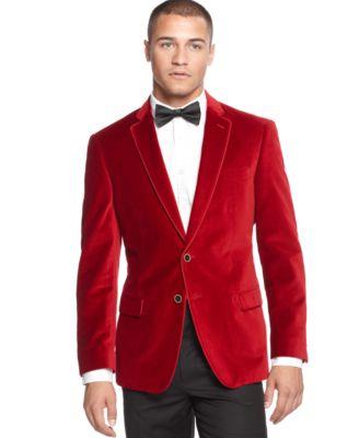 Sean John Solid Ribbon-Trim Velvet Blazer - Blazers & Sport Coats ...