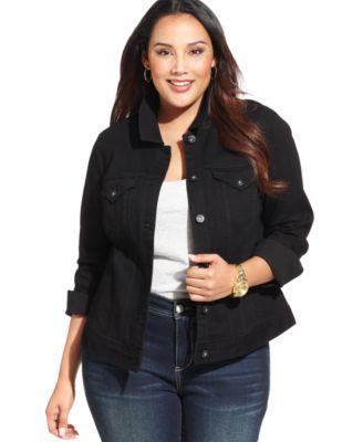 style & co. plus size denim jacket - jackets & blazers - plus