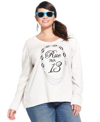jessica simpson plus size french graphic sweatshirt - tops - plus
