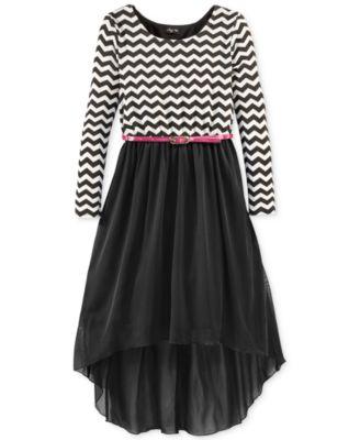 Ruby Rox Girls&39 Chevron Hi-Low Dress - Kids - Macy&39s