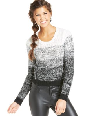 Material Girl Juniors' Open-Knit Striped Sweater - Sweaters ...