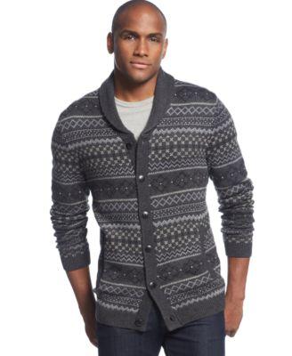 Tasso Elba Wool Blend Cable-Knit Shawl-Collar Cardigan - Sweaters ...