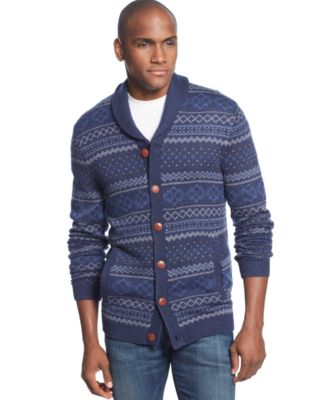 Tasso Elba Wool Blend Fair Isle Shawl-Collar Cardigan - Sweaters ...