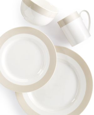 Martha Stewart Collection Classic Band Grey 4-Piece Place Setting