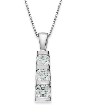 Diamond Three Stone Bar Pendant Necklace In 14k White Gold 1 Ct T W