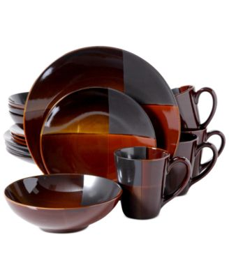 Gibson Convergence 16-Pc. Set Service for 4  sc 1 st  Macy\u0027s & Sango Avanti Brown 16-Pc. Set Service for 4 - Casual Dinnerware ...