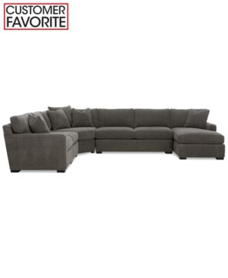 Radley 5 Piece Fabric Chaise Modular Sectional Sofa