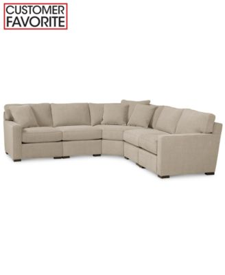 Radley 4 piece fabric modular chaise sectional furniture for Kenton fabric sectional sofa 3 piece