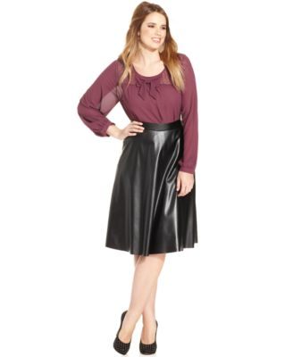 Soprano Plus Size Faux-Leather A-Line Skirt - Skirts - Plus Sizes ...