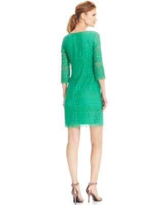 Jessica Howard Petite Illusion-Sleeve Crochet Lace Shift - Dresses ...