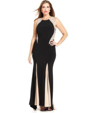 Xscape Plus Size Embellished Contrast-Panel Gown