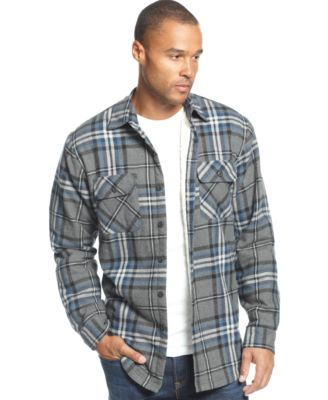 Club Room Faux-Shearling-Lined Plaid Shirt Jacket - Casual Button ...