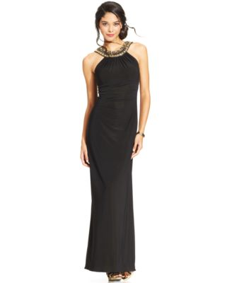 Xscape Petite Ruched Beaded Halter Gown - Dresses - Women - Macy\'s