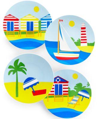 Martha Stewart Collection Set of 4 Coastal Summer Melamine Appetizer Plates  sc 1 st  Macy\u0027s & Martha Stewart Collection Striped Melamine Serving Bowl - Serveware ...