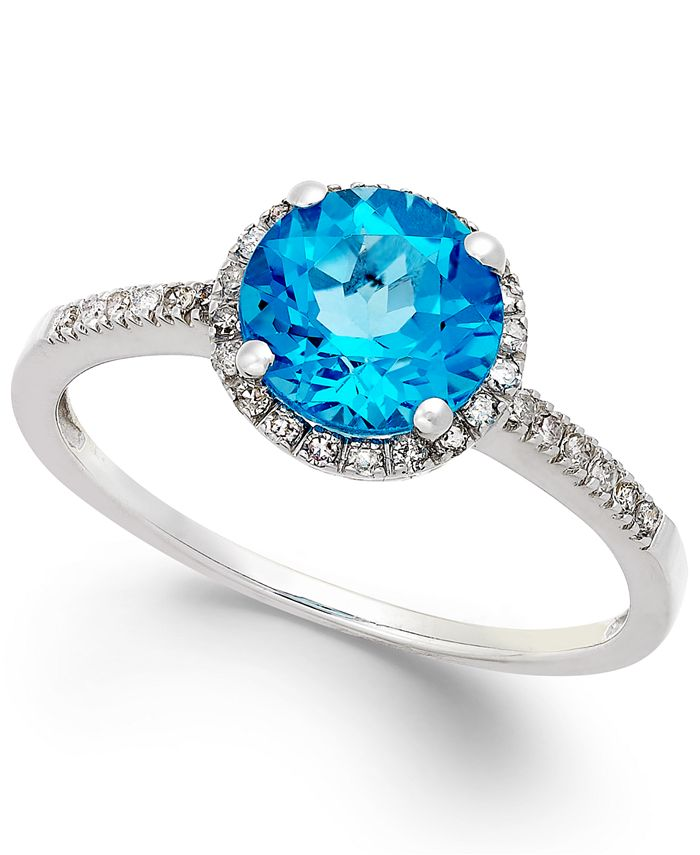 Macy's - Blue Topaz (1-1/2 ct. t.w.) and Diamond (1/8 ct. t.w.) Ring in 14k White Gold