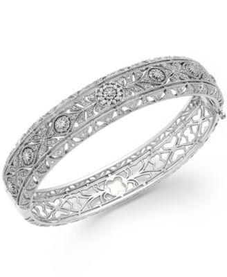 Bouquet by EFFY Diamond Vintage Bangle in 14k White Gold 1 1 8 ct