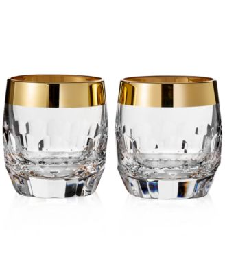 Waterford Mixology Mad Men Edition Draper Double Old Fashioned with Gold Band, Pair