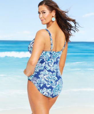 lauren ralph lauren plus size printed twist-front swimsuit