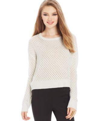 Marilyn Monroe Juniors' Open-Knit Cropped Sweater - Sweaters ...