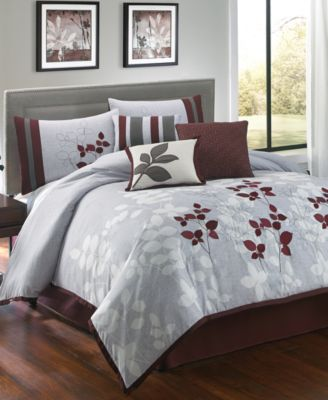 CLOSEOUT! Meadow 7 Piece Queen Embroidered Comforter Set