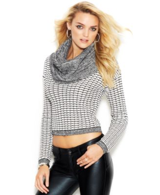 GUESS Long-Sleeve Cowl-Neck Cropped Sweater - Sweaters - Women ...