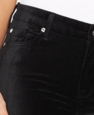 Black velvet bootcut jeans