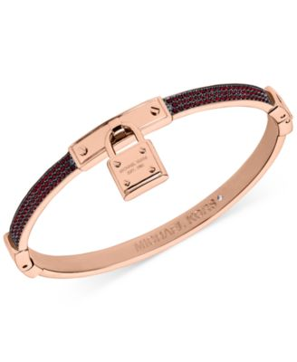 Michael Kors Rose GoldTone Red Pav Padlock Hinge Bangle Bracelet