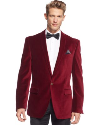 Tallia Red Velvet Slim-Fit Blazer - Blazers & Sport Coats - Men ...