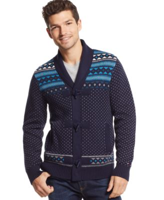 Tommy Hilfiger New George Cable Knit Shawl Collar Sweater ...