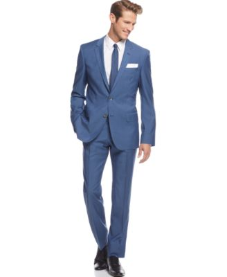 BOSS HUGO BOSS Medium Blue Sharkskin Suit - Suits & Suit Separates ...