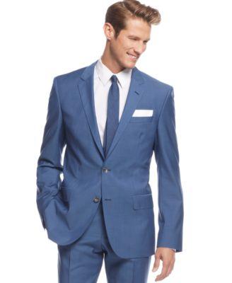 BOSS HUGO BOSS Medium Blue Sharkskin Suit - Suits & Suit Separates