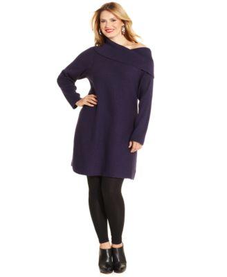 Alfani Plus Size Long-Sleeve Marilyn Cowl-Neck Tunic Sweater ...